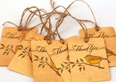 Yellow bird Thank you tags spring wedding favor by ThePurpleTable