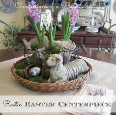 Beautiful Easter Centerpiece made by Debbie@Confessionsofaplateaddict