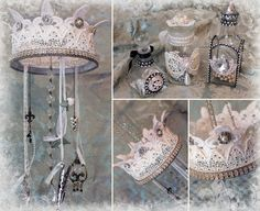 Lace Crown Chandelier and Blinged up Bottles - Tresors de Luxe - see the video here - https://www.youtube.com/watch?v=y4s5H9ZFrcY