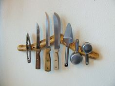 Unique reclaimed tree branch Magnetic Knife Rack by Hookedtonature