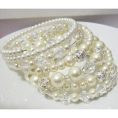 Pearl Cuff Bracelet, Multi Layered Bracelet, Ivory Pearl Bridal... (66 CAD) ❤ liked on Polyvore featuring jewelry, bracelets, cuff bracelet, cuff bangle, chunky bangles, hinged cuff bracelet and pearl bangles