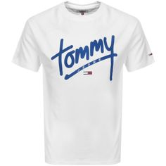 Tommy Jeans Crew Neck Script T Shirt White Tommy Hilfiger Outfit, Tommy Hilfiger Jeans, Tommy Jeans T Shirt, Polo Jeans, Cool T Shirts, Tee Shirts, Mens Joggers, Hugo Boss, Lacoste