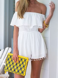 White,Off Shoulder,Elastic Waist,Pom Pom,Romper,Playsuit