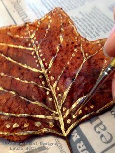 Dishfunctional Designs: DIY Painted Leaves Tutorial