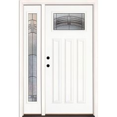 Feather River Doors 50.5 in. x 81.625 in. Rochester Patina Craftsman Lite Unfinished Smooth Fiberglass Prehung Front Door with Sidelite, Smooth White: Ready To Paint