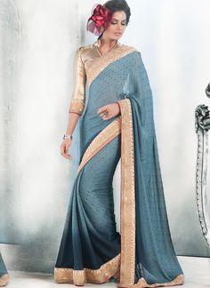Blue Bulk Designer Saree With Lace Border Work