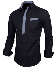 Color Block Long Sleeves Men's Shirt Black