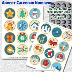Printable Advent Calendar Circles cupcake tin pan covers