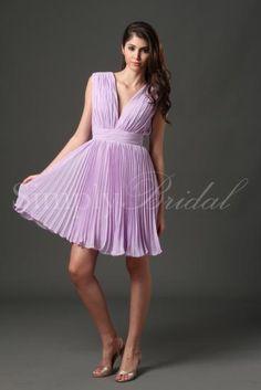 #85052 - Short V-Neck Chiffon Dress- Simply Bridal