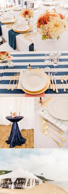 Peach blush and blue wedding color theme - reception, decor, tablescape, and florals