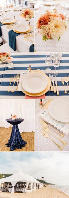 Peach blush and blue wedding color theme - reception, decor, tablescape, and florals