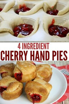 Four Ingredient Cherry Hand Pies – the easiest dessert you'll ever make. Just 4 … Four Ingredient Cherry Hand Pies – the easiest dessert you'll ever make. Just 4 ingredients and made with crescent roll dough and cherry pie filling. Mini Desserts, Cherry Desserts, Easy Desserts, Delicious Desserts, Desserts With Cherries, Cherry Pie Filling Desserts, Mini Cherry Pies, Cherry Hand Pies, Oreo Dessert