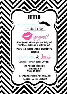 Lips and mustache baby gender reveal party invite baby gender stopboris Gallery