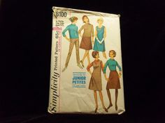 Jr. Petite Dress Blouse Skirt Slacks Simplicity 6100 1960s sewing patterns retro clothing vintage clothing sewing mad men size 13 Bust 33