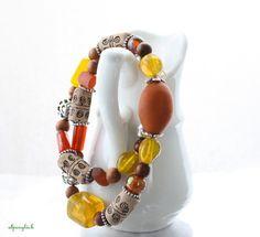 ♥ eine neue Kette in der Serie der Hupfdohlen ♥    ♥ eine Kombination aus Holz-, Glas-, Metall- und Tonperlen    ♥ gehalten in den Farben rot, orange,