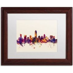 Trademark Fine Art Austin Texas Skyline Canvas Art by Michael Tompsett, White Matte, Wood Frame, Size: 16 x 20, Red