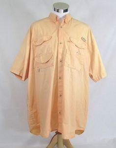 Columbia Men's PFG Fishing Button Front Shirt Short Sleeve Vented Peach 2XLT #Columbia #ButtonFront