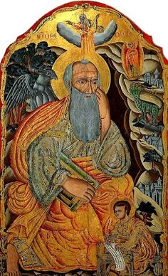 """St John the Evangelist on Patmos - 18th-c. icon ~ Rev 1: 9-13, 17-19...Revelation comes from a period of persecution of the Church:  the author, John, """"found [himself] on the island called Patmos because I proclaimed God's word and gave testimony to Jesus"""" (1:9); The revelation given to John is addressed to the 7 churches of Asia Minor—today we'd call them dioceses and is meant to encourage them to persevere in their faith in spite of the persecution."""