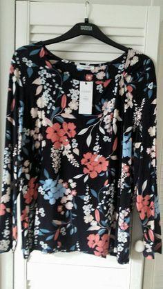 New M/&S Classic Floral Navy Pink Cream Kimono Top Jacket Sz UK 16