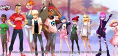 Miraculous Ladybug and Chat Noir Adrien, Marinette, Alya, Chloe, Nico e todos os outros personagens.