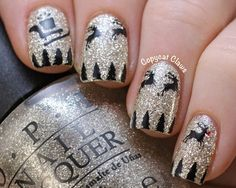 Santa and His Reindeer Nail Art