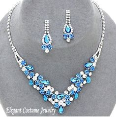 Cornflower Blue Topaz Crystal Bridesmaid Prom Bridal Necklace Set Elegant Jewelry $20.99
