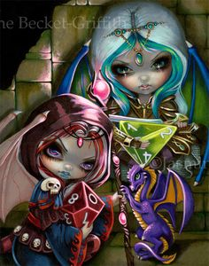 Dice Dragonlings - dragon dice fairy painting by Jasmine Becket-Griffith big eye faery - d20 Dungeons & Dragons fairy art from DragonCon 2017