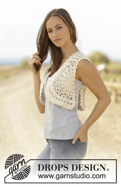 Bonita - Crochet vest with crochet square and lace pattern in DROPS Paris. Free pattern by DROPS Design