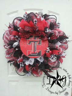 Deco Mesh Texas Tech Wreath Made To Order by DesignsbyJordanTX, Mesh Ribbon Wreaths, Sports Wreaths, Football Wreath, Diy Wreath, Wreath Ideas, Texas Tech Red Raiders, School Decorations, Valentine Wreath, How To Make Wreaths