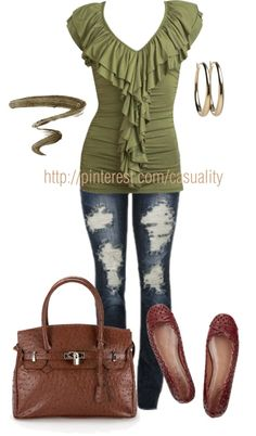 """""""Ballet Flats & Ruffled Blouse"""" by casuality on Polyvore"""
