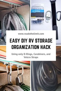 This simple, easy, and effective RV storage hack will organize all of your cords, wires, or hoses in a pinch with just 4 hardware items! Rv Camping Tips, Travel Trailer Camping, Camping Storage, Rv Storage, Camping Car, Camping Ideas, Travel Trailers, Camping Supplies, Camping Products