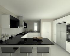 Modelo Line E Blanco | Encimera Granito Negro Modern Grey Kitchen, Small Modern Kitchens, Modern Kitchen Cabinets, Minimalist Kitchen, Kitchen Furniture, Kitchen Room Design, Kitchen Cabinet Design, Kitchen Sets, Kitchen Interior