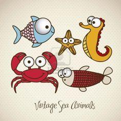 Illustration Of Crab, Starfish, Fish And Sea Horse, Fish Drawings,.. Royalty Free Cliparts, Vectors, And Stock Illustration. Image 15675421.