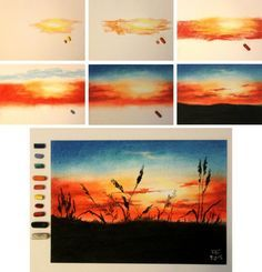 Bildergebnis für pastel drawing step by step - Zeichnung Landscape Drawings, Art Drawings, Oil Pastel Drawings, Landscape Art, Landscape Paintings, Sunset Paintings, Beach Landscape, Nature Paintings, Landscape Architecture