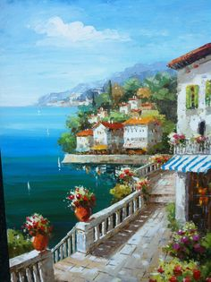 ORIGINAL OIL PAINTING  'Portofino'  Amalfi Coast Italy  by IntlArt, $165.00