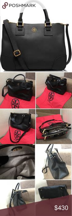 Spotted while shopping on Poshmark: Tory Burch Robinson Large Zip-Top Tote Bag, Black! #poshmark #fashion #shopping #style #Tory Burch #Handbags