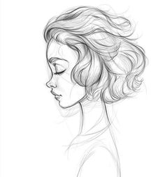 Need some drawing inspiration? Well you've come to the right place! Here's a list of over 30 amazing hair drawing ideas and inspiration. Why not check out this Art Drawing Set Artist Sketch Kit, perfect for practising your art skills. Pencil Art Drawings, Art Drawings Sketches, Girl Pencil Drawing, Pencil Sketching, Poses References, How To Draw Hair, Pencil Portrait, Painting & Drawing, Drawing Hair