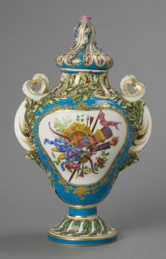 Vase with Lid Model probably by Jean-Claude Duplessis, Sr., French, c. 1695 - 1774. Made by the Sèvres porcelain factory, Sèvres, France, 1756 - present. Geography: Made in Sèvres, France, Europe Date: c. 1762 Medium: Soft-paste porcelain with enamel and gilt decoration