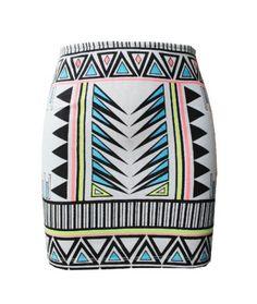 geometric tribal print skirt society of chic