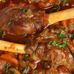 Lamb Shanks – Pressure Cooker Recipe Main Dishes with lamb shanks, carrots, celery, yellow onion, tomato paste, garlic, roasted tomatoes, beef stock, coconut oil, salt, pepper, crushed red pepper flakes, balsamic vinegar, flat leaf parsley