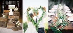 DIY Wedding Trends 2014.  Natural, textured and organic decorative details such as  garlands, swags, clusters of hanging paper lanterns, candles, timber crates, feathers, flowers, ferns, bark, branches, greenery and, believe it or not, even chicken wire, are used to recreate the outdoors.