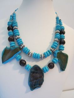 Turquoise and Brown Agate Statement NecklaceCountry by Agate Necklace, Stone Necklace, Turquoise Necklace, Beaded Necklace, Fall Jewelry, Jewlery, Rustic Wedding Jewelry, Necklace Ideas, Statement Jewelry