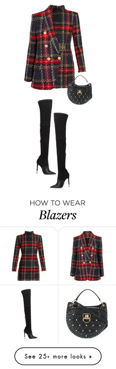 """Balmain"" by alexa-girl2 on Polyvore featuring Balmain, chic, plaid, balmain and fashionset"