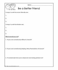 How to Be A Better Friend Worksheets