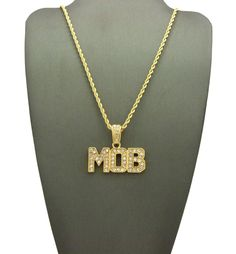 Yellow Gold-Tone Hip Hop Bling Iced Out Black Wealth Pendant with 18 Tennis Chain and 24 Rope Chain