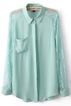 Lace Hollow Out Chiffon Shirt in Green [DLN0457] - PersunMall.com