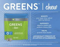 #Greens #chew so delicious #blueberry flavor #antioxidant and #prebiotic support get yours today!  www.ItWorksWrapCoach.com