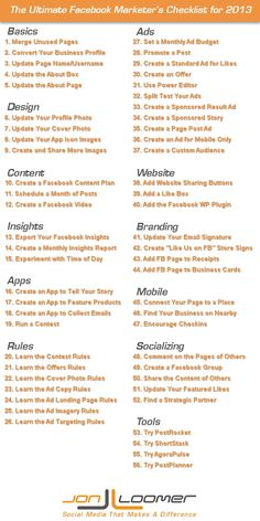 Ultimate Facebook Marketers Checklist. More Facebook marketing tips at http://getonthemap.us/facebook/blog #573tips #facebook