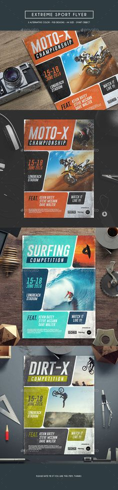 Skateboard, Surfing, Bmx, Motocross PSD Flyer  Template • Only available here ➝ http://graphicriver.net/item/extreme-sport-flyer/16600644?ref=pxcr