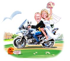 Getting married on 31st October, Halloween, riding their motorbike with their cats in tow with the wedding destination in the background